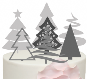 7 Christmas Trees Acrylic Cake Topper